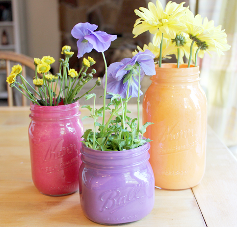 Jars with the inside painted different colors